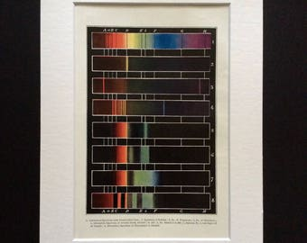 Antique Print 1906 Colour Spectrum Chart Diagram Spectra Metals