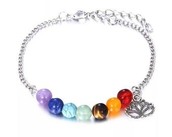 Silver chakra lotus flower bracelet