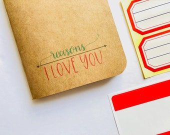 Reasons I Love You, Love Journal, Deployment Gift, Birthday Card, Anniversary Card, Things I Love, Wedding Anniversary, Romantic Love Card