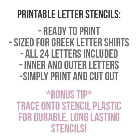 Greek Letter Shirt Printable Stencils Download 24 Letters