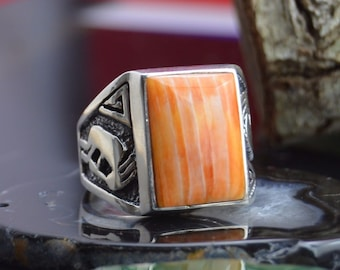 Navajo sterling silver and orange spiny oyster cast kokopeli ring size 12