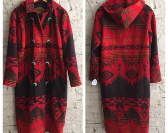 Amazing 1980s Woolrich long red Southwestern wool blanket coat with hood