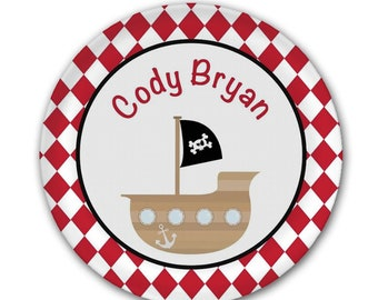 Birthday Plate Personalized - Pirate Birthday Plate - Children's Plate - Kids Birthday Plate - Custom Melamine Plate - Mad For Monograms