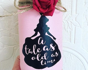 Belle beauty and the beast pink lantern jar tale as old as time ideal for wedding centre piece party belle princess party table decoration