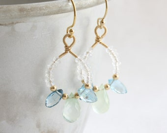 London blue topaz, prehnite & rainbow moonstone earrings, Gold wire wrapped drop earrings, Gemstone dangle earrings, 14k gold filled earring