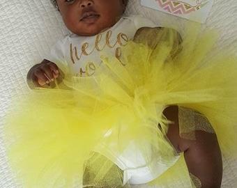 Yellow Glitter Tutu, Baby Tutu, Princess Tutu, Baby Girl Tutu, Birthday Tutu