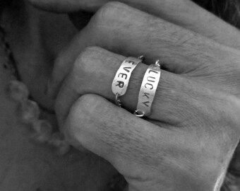 Custom hand stamped ring, Personalized Hand Stamped Bar Ring