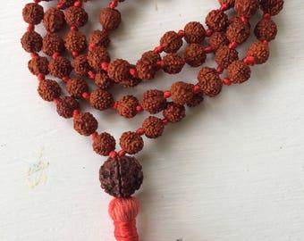 Rudraksha 108 bead mala; hand knotted