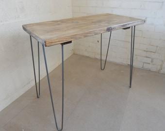 Rustic Desk, Handmade, Simple, Industrial, Urban, Reclaimed Wood Custom Sizes  Colour Options  Metal Hairpin Legs
