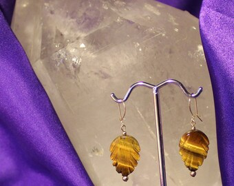 Tiger Eye Leaf Earrings,Protection Stone,Grounding Stone,Integrity Stone,Willpower Stone,Good Luck Stone,Prosperity Stone,Money Stone
