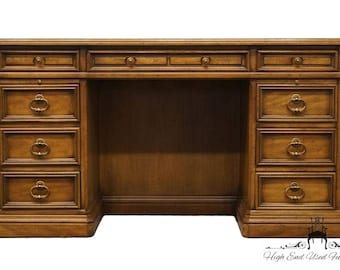 "SLIGH LOWRY Solid Fruitwood 54"" Executive Desk w/ Tooled Leather Top 1581"