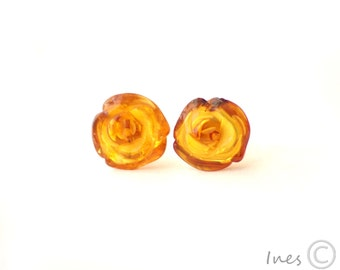 Cognac Baltic Amber Rose Earrings.
