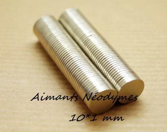 Lot de 50 aimants 10*1 mm,  disques aimantés néodyme N35