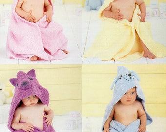 Sirdar Snuggly Snowflake DK & Snuggly DK Baby Hooded Blankets Knitting Pattern PDF Download