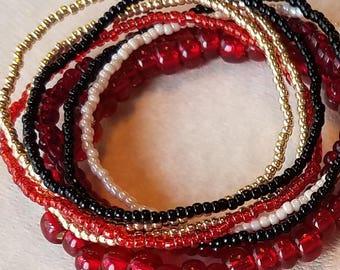 Seed bead bracelet, beaded bracelet, seed bead stretch bracelet, bracelet set of 8, red bracelet, gold bracelet, boho
