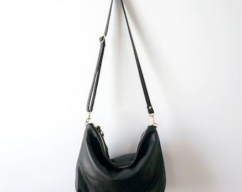 Leather Hobo / Leather Bag / Black Bag / Leather Purse / Everyday Bag / Crossbody Bag  / Casual / Simple Bag