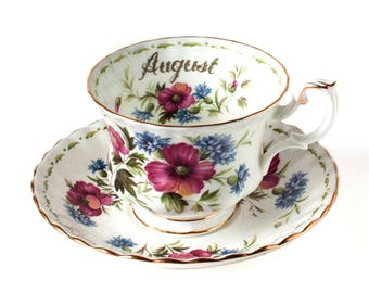 Royal Albert August Poppy Tea Cup Set, Royal Albert Flowers of the Month Series August Poppy, Royal Albert English China Tea Cup & Saucer