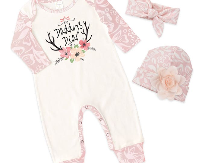 Newborn Girl Outfit, Baby Girl Romper, Long Sleeve Romper, Baby Girl, Father's Day Outfit, Daddy's Girl, TesaBabe RS810IYFQ0430