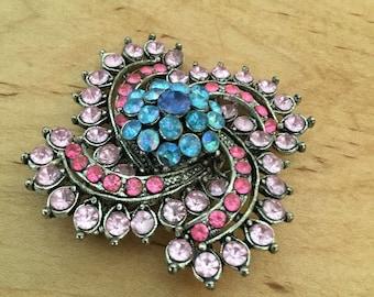 Pink Rhinestone Brooch   Blue Rhinestone Brooch   Rhinestone Pin   Antiqued Silver Brooch