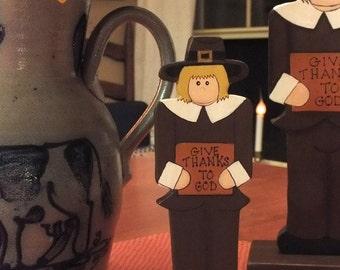 GIVE THANKS small Pilgrim Folk Art Hand Painted