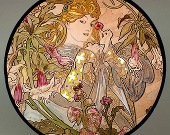 Mucha, Datura, Mucha kilnfired glass, medallion, Mucha stained glass, Mucha suncatcher, Mucha kilnfired stained glass, Mucha, Mucha vitrail