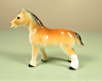 Ceramic Horse Figurine - Vintage Brown White Miniature