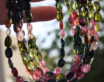 """Watermelon Tourmaline Green Pink Black Faceted Oval Beads Full 8"""" strand Organic look Focal Set nuggets"""