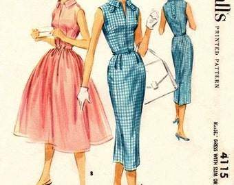McCall's 4115 Coquette Dress with Two Skirts 1957 / SZ14 COMPLETE