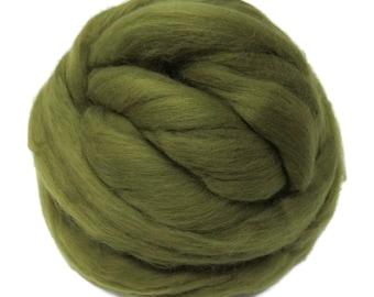 Merino / Silk  Roving, (Olive)