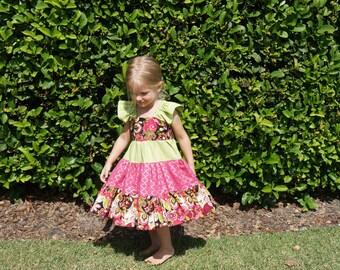 Pink Black and Green Twirl Dress