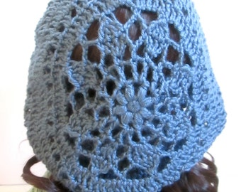 Slouchy Beret - Sunburst Design - Light Blue Crochet Beret - Lacy Beret