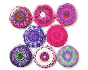 Mandala Magnets, Talavera Magnets, Refrigerator Magnets, Fridge Magnets, Decorative Mandalas Magnets, Pinks Purples Mandalas Magnets, 8/Set