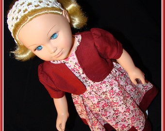 "American Girl Style 18"" Doll Dress & Bolero Pink Floral Print with Solid Burgundy Jacket for School, Prom or Dress Up Doll Clothes"