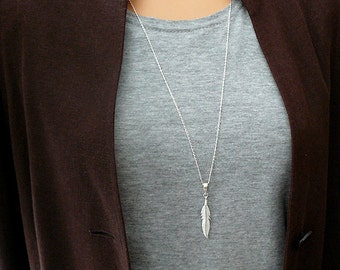 Feather Necklace - Long Necklace - Long Feather Necklace - Sterling Silver 925