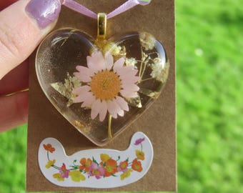 Statement Heart Shaped Real Pink Daisy Necklace Pendant with 24 Carot Gold Leaf, Perfect Valentines Gift for her, Everlasting Flower Jewelry