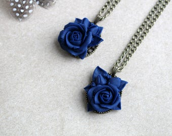 Blue flower polymer clay necklace for girlfriend gift for friend birthday gift Rose necklace Dark blue necklace art nouveau jewelry for her
