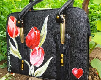 TULIPS ART, Hadpainted Tulips Bag, Tulip Bag, Eavning Handbag, Summer Bag, Handpainted  Tulips Bag, Black and Red Bag, Hand Painted Bag