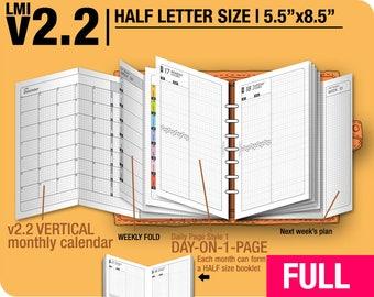 FULL [HALF size v2.2 w ds1 do1p] July 2018 to June 2019- Filofax Inserts Refills Printable Binder Planner Midori.