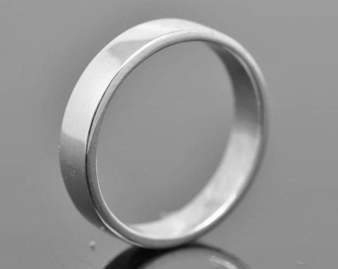 14K palladium white gold ring, 5mm x 1.3mm, flat, wedding band, wedding ring, square, mens wedding ring, mens wedding band, size up to 10