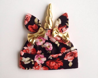 Floral Unicorn Baby Hat