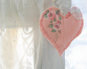 Small Fabric Heart with painted roses, Handmade Heart Hanger, Shabby French, Door Hanger, Romantic, Valentine, by mailordervintage on etsy
