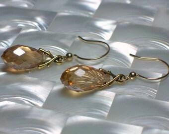 Glass Drop Earrings, Teardrop Earrings, Gold Earrings, Fancy Jewelry, Jewellery, GIFT IDEAS, Fashion Earrings, Classic Jewelry