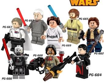 Star Wars Mini Figures X 8 Leia,Han Solo,Baze Malbus,Krennic,Darth Malgus,Palpatine,Chirrut Imwe & Obi Wan Kenobi Fit lego Marvel,Ninjago