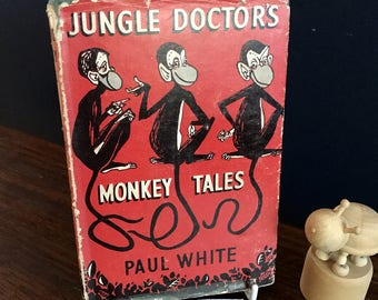 Jungle Doctor's Monkey Tales vintage black and white illustrated book by Paul White in 1957