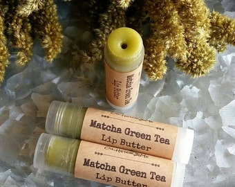 MATCHA GREEN TEA Lip Butter, Matcha lip balm, Green Tea lip balm, natural lip butter, unscented  lip balm, lip butter