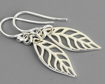 Sterling Silver Leaf Earrings - Dangle Earrings - Leaf Jewelry - Outdoors Gift - Gardening Gift - Silver Drop Earrings - Jewelry Handmade