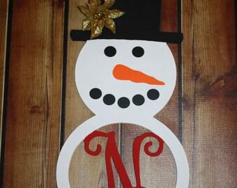 Wood Snowman Initial Door Hanging/Wall Décor-Winter Door Hanging, Winter Decor, Snowman decor, Holiday Gift