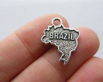 4 Brazil charms antique silver tone WT212