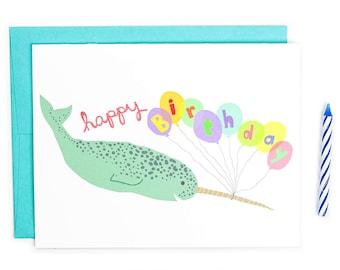 Narwhal Birthday Card, Cute Birthday Card, Happy Birthday Card, Narwhal Balloons, Childrens Birthday, Kids Birthday Card, Nautical Birthday