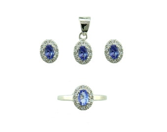 Tanzanite pendant set including tops and ring 925 sterling silver jewellery set